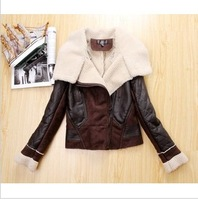 Topshop 2014 Fur One Piece Motorcycle Paragraph Suede Fabric Berber Fleece Outerwear Leather Clothing Female Short Design