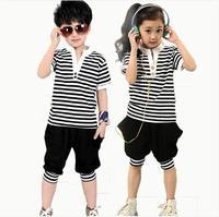 2014 children's female child summer clothing child sports set clothing clothes male child stripe summer short-sleeve