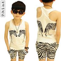 Stripe vest set 2014 summer male child boy shorts small children's clothing set