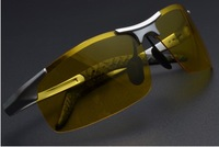 2014 new Arrival Fashion Polarized  Sun glasses Silver  Frame and yellow Lenses   8177 Free shipping