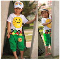 2014 summer baby child male female child smiley set child summer short-sleeve letter set