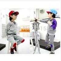 2014 spring hot-selling set child set sweatshirt applique male child set