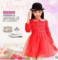 Free shipping Retail girls fashion dress children long sleeve summer dresses kids rose flower princess dress girls party dress