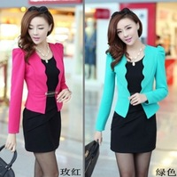 2014 ol slim twinset spring and autumn long-sleeve jacket and coat women's set