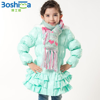 New 2014 jacket for girls winter coats for children jacket girl child fashion pink green cake medium-long down coat outerwear