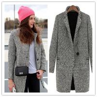 S-XLsize European style women woolen coat 2014 new plus size medium long women's winter coat free shipping