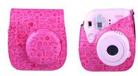 Leather Cute Camera Case Bag For Fujifilm Polarod Instax Mini 8 Mini8s Rose red