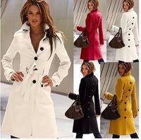 Hot popular 2014 New European & American women woollen coat Winter long fashion Slim casacos femininos sobretudo with belt