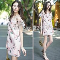 The new Korean version of Slim short sleeve dress printed organza strapless