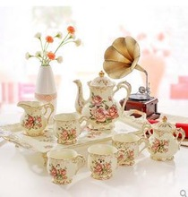 High grade ceramic coffee set ou tea set coffee pot Coffee cups and saucers wedding gift