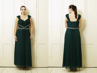 Plus Size Evening Dresses 2014 Sexy A Line Spaghetti Straps Dark Green Chiffon Ruched Ankle Length Women Party Dresses