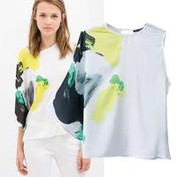European shirt women 2014 summer new women's clothing asymmetrical Ink digital printing blouses tide novelty sleeve blouse
