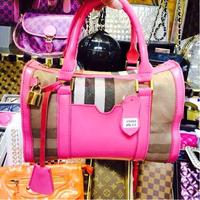 Hot European Fashion Brand 2014 New Women Lady Classic Plaid Handbag Freeshipping Real Leather Tote Bag Clutches Freeshipping
