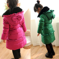 2014 girl child down coat medium-long coats for children thickening baby outerwear children girls winter jackets green red 6Y-10