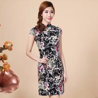 Tang suit women's design long cheongsam fashion slim short-sleeve fluid plus size cheongsam one-piece dress evening dress