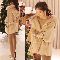 2014 New Autumn winter Women s Belted Faux Fur Hooded Outwear Woolen coat  Poncho Cape Cloak Jacket