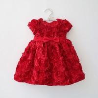 1pcs retail 2014 summer girls dress rose petal hem dress color cute girls  dress 2-5 years children's apparel