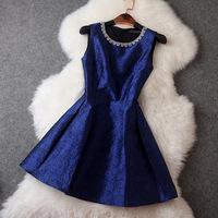 2014 New Casual Brand Women Dress Vintage Luxurious Neckline Beading Diamond Dress Jacquard Elegant Evening Dresses Hot Sale