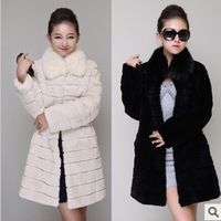 2013 women's fur coat overcoat plush slim outerwear thermal medium-long women's