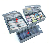 Hot Sale 1piece/lot Bamboo Charcoal Fiber Clothing Organizer Non-Woven Storage Boxes With Cover for Bra,Socks,Briefs,Scarf