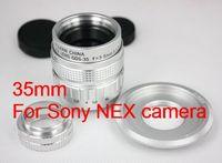 Silver 35mm f/1.7 CCTV Lens for Sony nex nex3 nex5 + C Mount to NEX adapter + Macro Ring