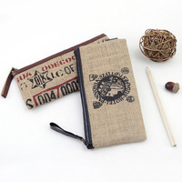 New Arrival Burlap 1933 Series Color Pencil Bags Pencil Case Stationery Pencil Box School Supplies Stationery Cute