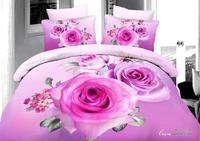 hot,high-quality,3d beautiful rose style,bed linen bedding set 4pcs cotton queen,comforter set /duvet cover/bedclothes/bed line