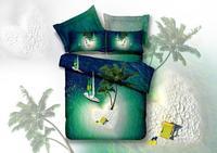 good scenic,green coconut tree,sailing,3d bed linen bedding set 4pcs cotton queen,comforter set /duvet cover/bedclothes/bed line