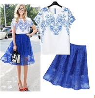 2014 Women's Summer Fashion Chiffon Printed 2 Piece Clothing Set Women Skirt and Top Suit
