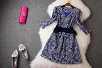 2014 New Casual Brand V-Neck Women Dress Vintage Luxurious Bow Print Dress Jacquard Elegant Celebrity Dresses Bestbelling T2020