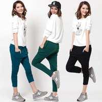 spring summer new 2014 women bottoms plus size elastic harem pants capris female-Fashion