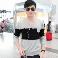 2014 autumn high quality Men's high collar Casual lattice shirt Basic V-neck 100% cotton sweater Knitwear clothing Free Shipping