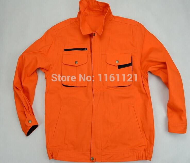 2014 Summer men's 100% cotton fire retardant working jacket clothes orange work shirt(China (Mainland))