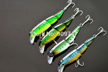 Бесплатная доставка 3 Разделы Minnow Рыбалка Lure 10 см / 18g / шт плавающей приманки жесткий приманки 4шт / пакет Multi- corlors