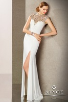 2014 Stunning Slim Fit Chiffon Evening Dress Sheath Beading High Neck Cap Sleeves See-Through Prom Dress With Sexy Front Slit