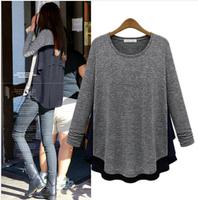 blusas femininas 2014 women clothing autumn&winter chiffon stitching O neck long sleeve T-shirt render unlined upper garment