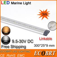 2014 limited 300mm 3w flat surface aluminum led boat battery linear bar light 9.5-30v as marine cabinet lights CE ROHS 6pcs/lot