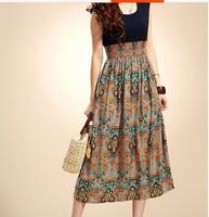 New 2014 Women Summer Dress Korean Fashion Women Bohemian Sleeveless O-neck Floral Chiffon Dress Plus size Free Shipping 712