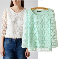 Cute 2014 New Autumn Lace  Casual Solid Fashion Slim Long Sleeve Round Collar Loose Blouse S,M,L WSZ-1197