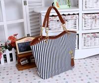 2014 Fashion New Women's Lady Street Tassel Style bags Snap Candid Tote Striped Shoulder Bag Handbags Canvas B-011