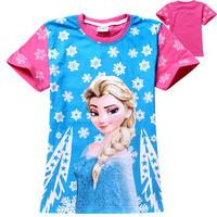 2014 New Best 100% Cotton Super Cartoon Hot Frozen Princess T Shirts Girls Tops&Tees Frozen T Shirts