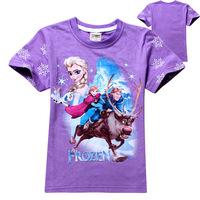 High Quality 100% Cotton Super Cartoon Hot Frozen Princess T Shirts Girls Tops&Tees Frozen T Shirts
