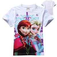 2014 Hot Selling Cartton Cheap Cotton 100% New Elsa&Anna Girls Tops&Tees Princess T Shirt Frozen Tees