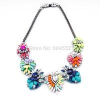 BOHO Fashion Magazine Shourouk Multicolor Stereo Acrylic Rhinestones Chunky Bib Choker Statement Necklace