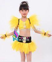 2014New Children Dance Wear Fashion Feather Latin dance costume Girls sequined gauze skirt Dress Children Performing service IVU