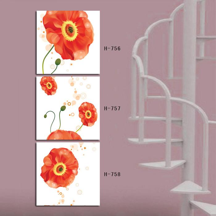 Vertical 3 peça arte da parede da lona Prints para decoração da parede imagem Red Poppy Flower(China (Mainland))
