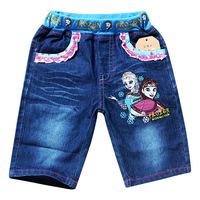 2014 New Arrival Cheap 6pcs/lot Hot Selling Frozen Short Pants Girls Jeans Frozen Short Jeans Wholesale