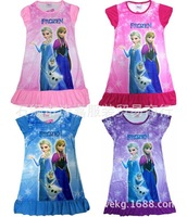 2014 children popular cartoon leisurewear girl's nightgown Snow and ice colors Short sleeve dress is 1418