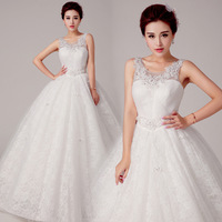 Short Wedding Dress Freeshipping Bridal Gown 2014 Latest Wedding Dress Fashionable Shoulders - Flower Bride Band Together In