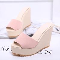 wholesale free shipping 2014 summer elegant fashion open toe high-heeled wedges platform gentlewomen women slippers